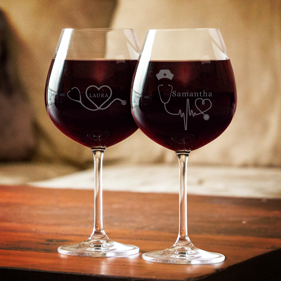 Personalized Nurse Stethoscope Red Wine Glass