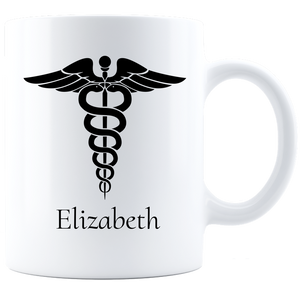 Personalized Nurse Coffee Mug - White/Black Nurse Wings
