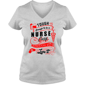 Nurse Ladies V Neck Tee - T Shirt Tough Enough