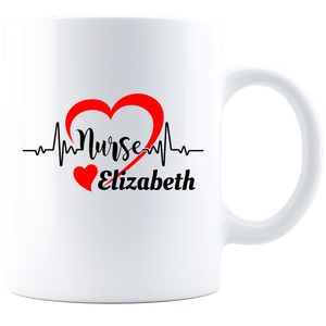Personalized Nurse Coffee Mug - White/Black  HeartLine