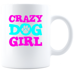 Crazy Dog Girl Coffee Mug - White
