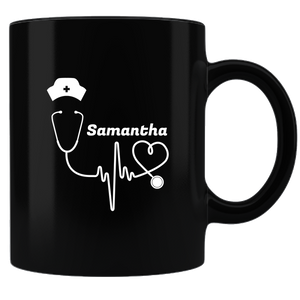 Personalized Coffee Mug - Black/White Hat and stethoscope
