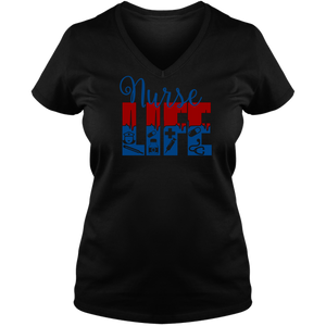 Nurse Life Ladies V Neck Tee - T Shirt