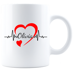 Personalized Nurse Coffee Mug - White/Black LifeLine
