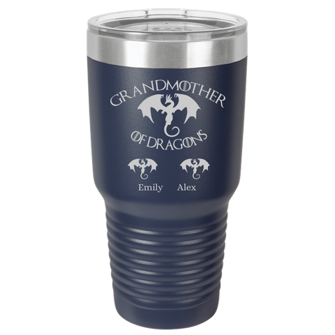 GrandMother OF Dragons Gift 30oz Personalized With Kids Names Tumbler, Game Of Thrones Quote