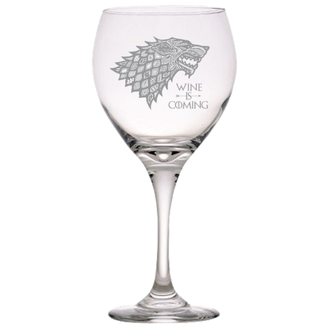 GOT Stark Quote Red Wine Glass Laser Etched No Colored Art