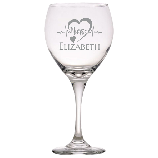 Personalized Wine Glass Nurse Heart Lifeline