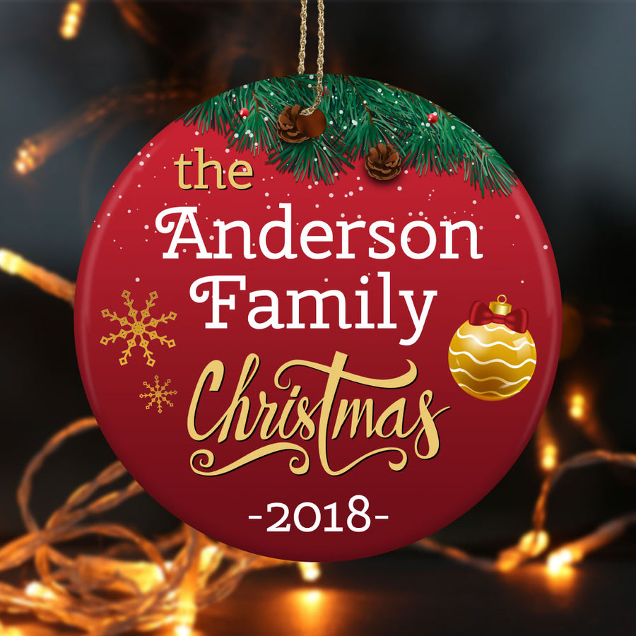 Personalized Christmas Family Ceramic Circle Ornament