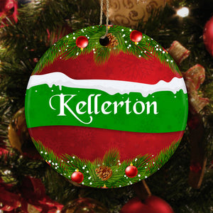Personalized Family-Name Ceramic Circle Ornament