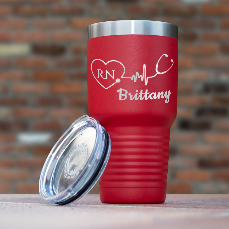 Personalized Nurse Tumbler - Stethoscope With Heart Polar Camel 30oz