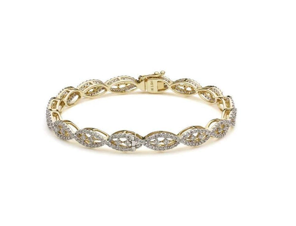 18K Yellow Gold Diamond Bangle W/ 2.48ct VVS Diamonds & Crossover Pattern | Make a statement with your jewelry with pieces like this stunning 18K yellow gold diamond bangle ...