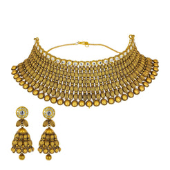 22K Yellow Gold Antique Choker Set W/ Kundan & Striped Spindle Beads