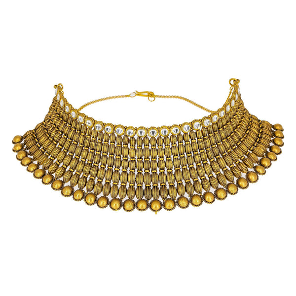 22K Yellow Gold Antique Choker Set W/ Kundan & Striped Spindle Beads | Make a memorable statement of luxury and design in this most exquisite women's 22K yellow gold an...