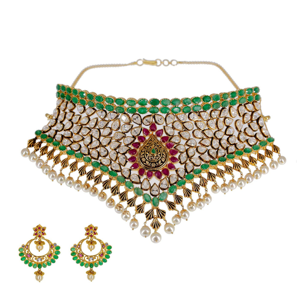 22K Yellow Gold Choker Set W/ Precious Emeralds, Rubies, CZ Gemstones & Hanging Pearls | Make a memorable statement of luxury and design in this most exquisite women's 22K yellow gold ch...
