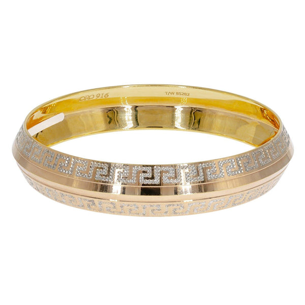 22K Multi Tone Gold Men's Kada Bangle W/ White Gold Aztec Pattern | Enhance your masculine chic attire with classic gold jewelry like this 22K multi tone gold men's ...