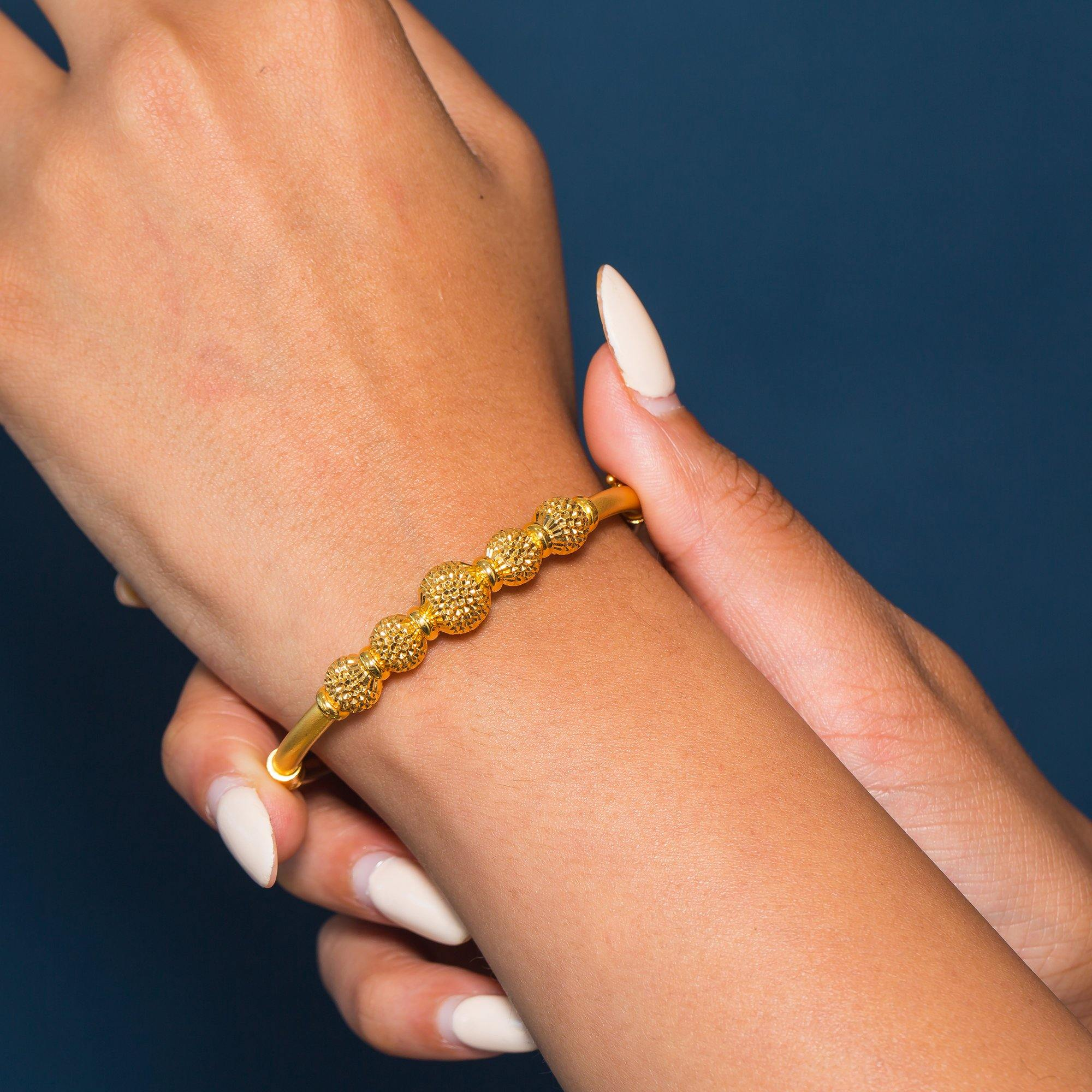22K Yellow Gold Bangle W/ 5 Accent Dimpled Balls