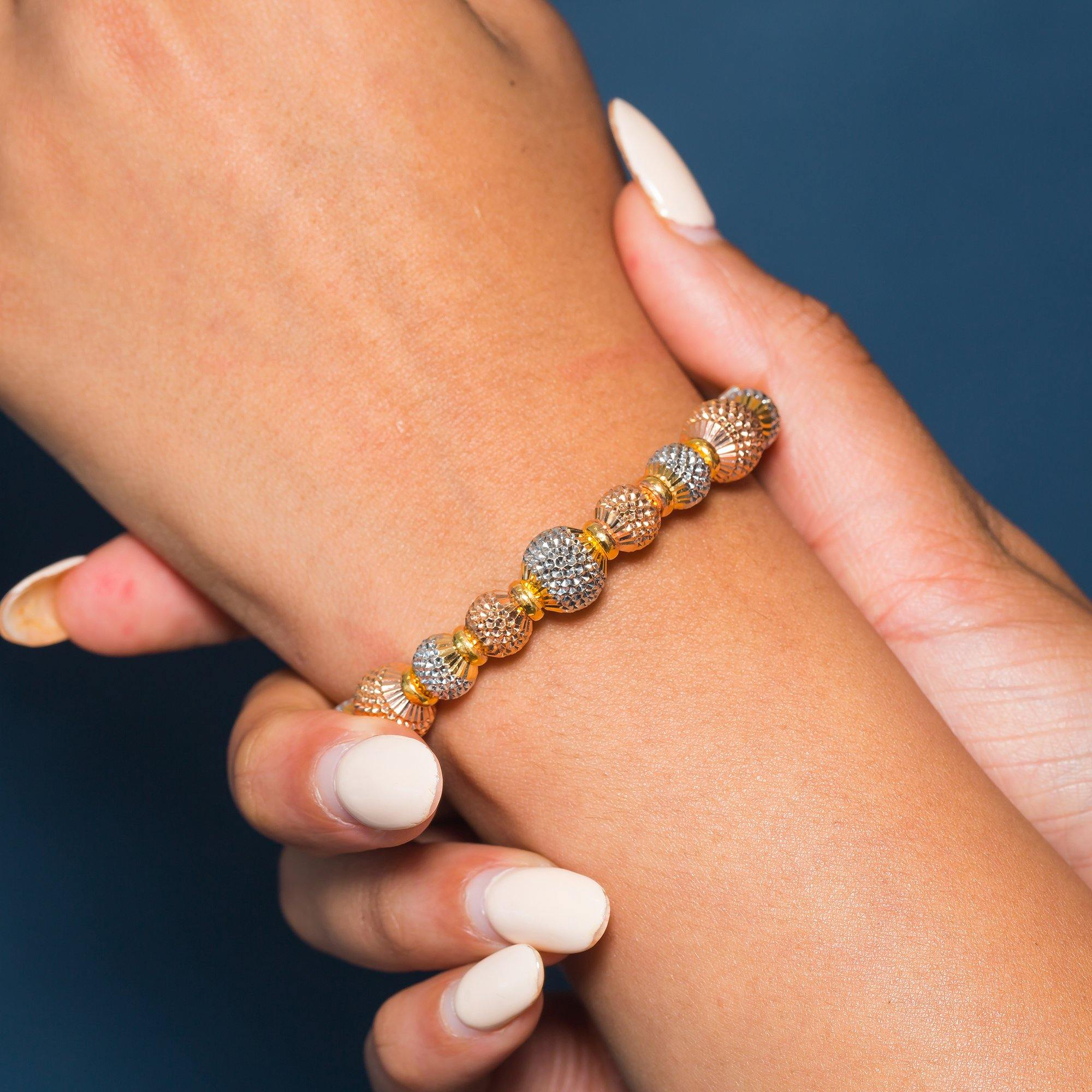 22K Multi Tone Gold Bangle W/ Rose, White & Yellow Accent Dimpled Balls