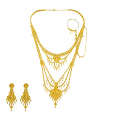22K Yellow Gold Long Necklace & Earrings Set W/ Nath Nose Ring & Filigree Designs