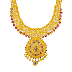 22K Yellow Gold Long Necklace & Jhumki Earrings Set W/ Emeralds, Rubies & CZ Gemstones