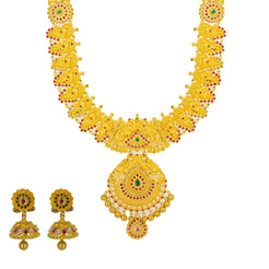 22K Yellow Gold Long Necklace & Jhumki Earrings W/ Rubies, Emeralds, CZ & Peacock Accented Necklace