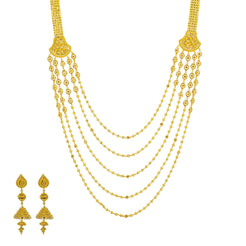 22K Yellow Gold Long Necklace & Jhumki Earrings Set W/ Draping Gold Beaded Strands