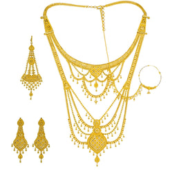 22K Yellow Gold Long Necklace & Earrings Set W/ Tikka, Nath Nose Ring & Filigree Designs