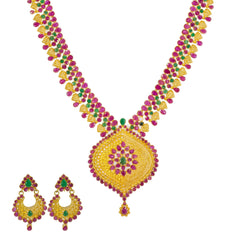 22K Yellow Gold Long Necklace & Chandbali Earrings Set W/ Rubies & Emeralds
