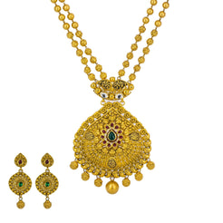 22K Yellow Gold Long Necklace & Earrings Set W/ Draping Beaded Filigree Design