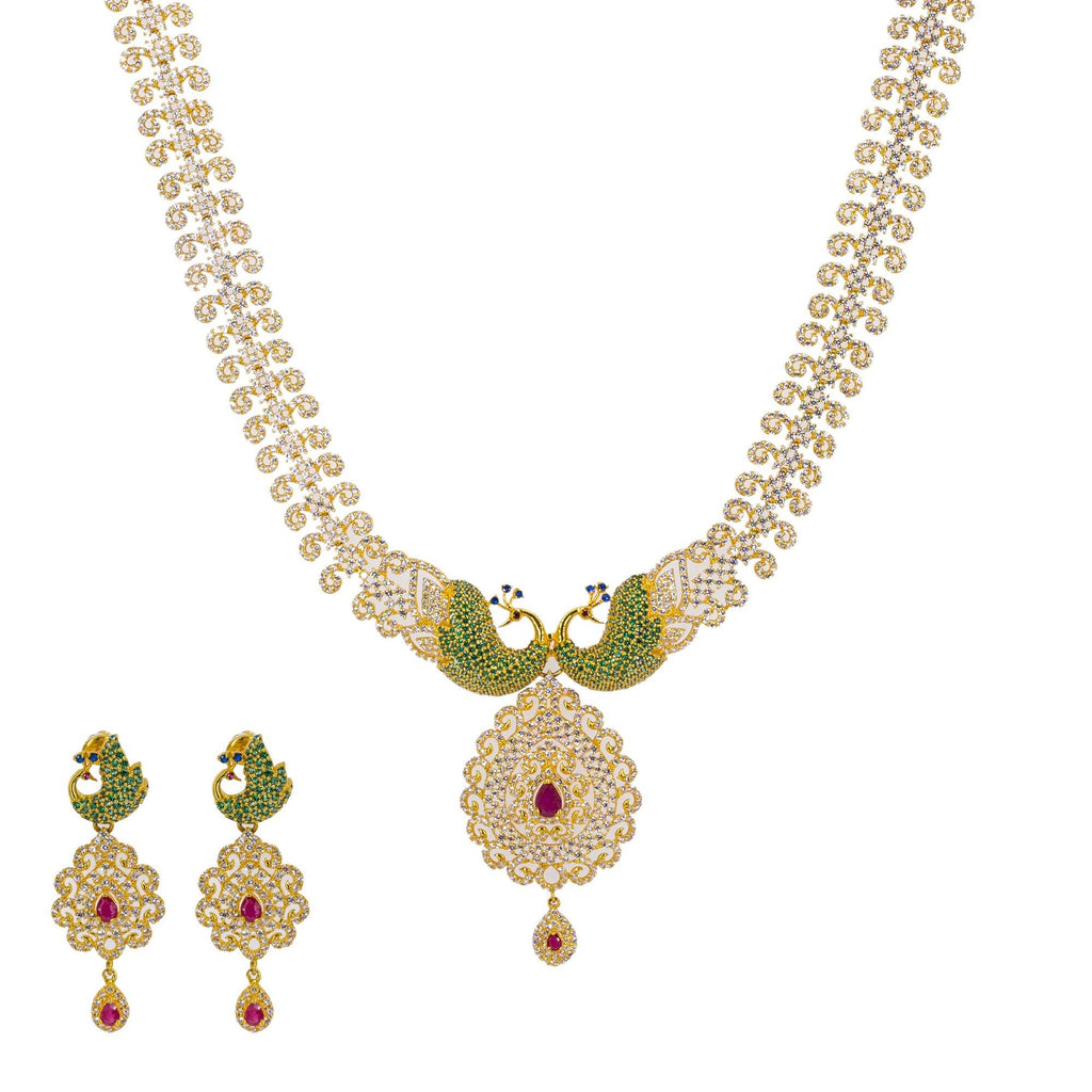 An image of a gorgeous 22K gold necklace set with peacock accents from Virani Jewelers. | Make your evening one to remember with this gorgeous 22K gold necklace from Virani Jewelers!  Fea...