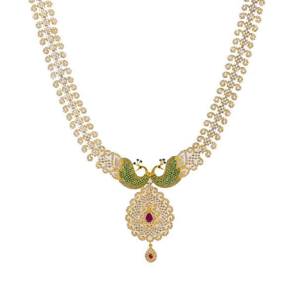An image of the unique Indian gold necklace from Virani Jewelers. | Make your evening one to remember with this gorgeous 22K gold necklace from Virani Jewelers!  Fea...