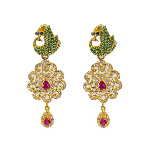An image of the matching 22K gold earrings with peacock accents from Virani Jewelers. | Make your evening one to remember with this gorgeous 22K gold necklace from Virani Jewelers!  Fea...