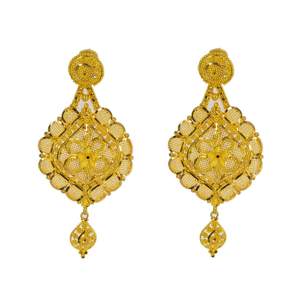 An image of the unique design on the 22K gold earrings from Virani Jewelers. | Show the world how classy and elegant you can be with this gorgeous 22K gold necklace from Virani...