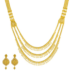 22K Yellow Antique Gold Long Necklace & Earrings Set W/ Emeralds, Rubies, CZ & Large Ornate Pendant