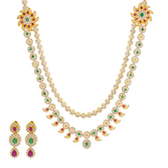 22K Yellow Gold Long Necklace & Earrings Set W/ CZ, Emeralds, Rubies & Encrusted Mango Accents