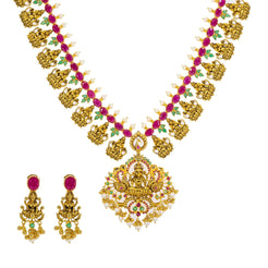 22K Yellow Antique Gold Long Laxmi Necklace & Earrings Set W/ Rubies, Emeralds & Pearls
