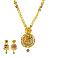 22K Yellow Antique Gold Long Necklace & Earrings Set W/ CZ, Emeralds, Rubies & Large Shield Pendant