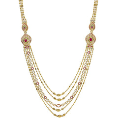 An image of a multi-stranded 22K gold necklace with gemstone accents from Virani Jewelers