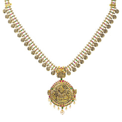 22K Yellow Antique Gold Laxmi Kasu Haaram Necklace W/ Emeralds, Rubies, Pearls & Large Pendant