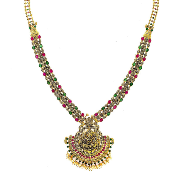 An image of an elegant gold Indian necklace from Virani Jewelers | Looking for 22K yellow antique gold jewelry to add to your wardrobe? This elegant Laxmi necklace ...