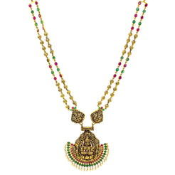An image of a beautiful temple necklace with 22K antique yellow gold crafted by Virani Jewelers