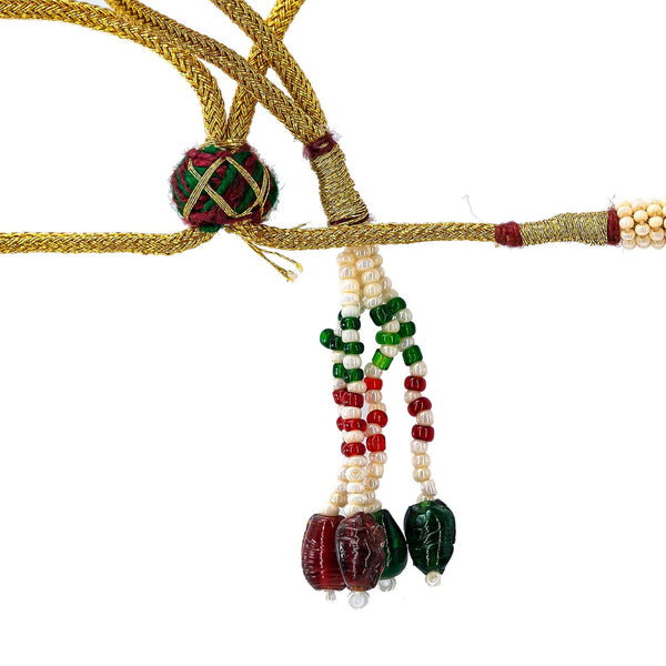 22K Yellow Antique Gold Ram Parivar Haaram Necklace W/ Emeralds, Rubies, Pearls & Ram Parivar Kasu |     Make an undeniable statement of luxury and culture with seamless designs like this 22K yellow...