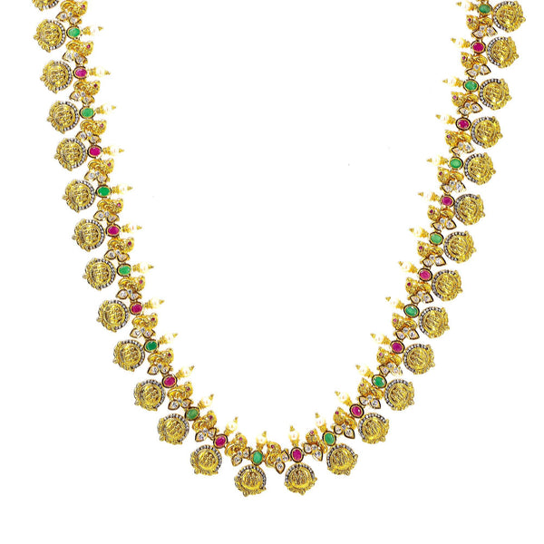 22K Yellow Antique Gold Ram Parivar Kasu Necklace W/ Rubies, Emeralds, Pachi CZ, Pearls & Fringed Adjustable Drawstring Closure |     Blend the richness of culture with the brilliance of precious gemstones to reveal the most ex...