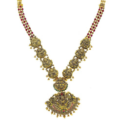22K Yellow Antique Gold Laxmi Haaram Necklace W/ Emeralds, Rubies & Faceted Laxmi Accents