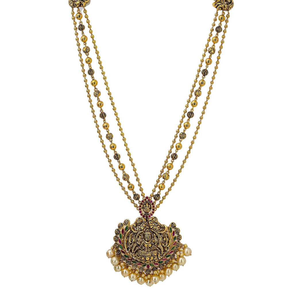 An image of an ornate 22K yellow antique gold necklace with a large pendant designed by Virani Jewelers | Order this gorgeous necklace from Virani Jewelers to express yourself with elegant temple jewelry...