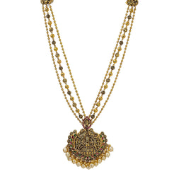 22K Yellow Antique Gold Laxmi Pendant Necklace W/ Rubies, Pearls, Triple Strands & Adjustable Drawstring Closure