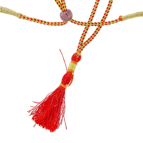 An image of the adjustable strap on an elegant Indian necklace from Virani Jewelers | Order this gorgeous necklace from Virani Jewelers to express yourself with elegant temple jewelry...