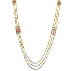 22K Multi Tone Gold Layered Haaram Necklace W/ Rubies, Emeralds, CZ Gemstones & Triple Ball Strands