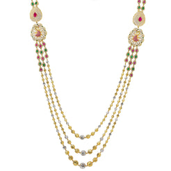 22K Multi Tone Gold Layered Haaram Necklace W/ Rubies, Emeralds, CZ Gemstones & Ornate Side Pendants