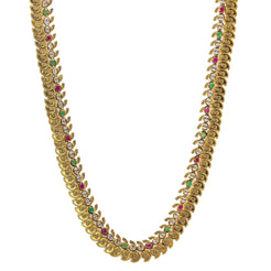 22K Yellow Antique Gold Laxmi Mango Haaram Necklace W/ Rubies, Emeralds, Pachi CZ & Adjustable Drawstring Closure