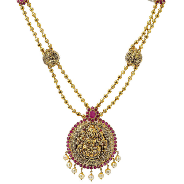 22K Yellow Antique Gold Laxmi Necklace W/ Rubies, Pearls, Double Ball Strands & Adjustable Drawstring Closure |     Temple jewelry pieces are the sure way of creating an unforgettable look that will turn heads...